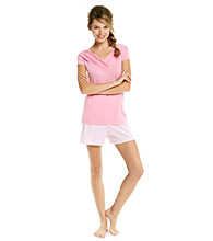 KN Karen Neuburger Knit Combo Short Pajama Set - Rose Stripe