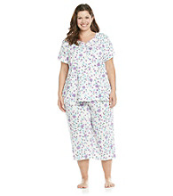KN Karen Neuburger Plus Size Knit Cardi/Crop Pajama Set - Purple Floral