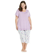 KN Karen Neuburger Plus Size Knit Combo Pajama Set - Purple Floral