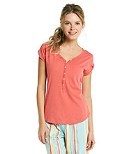 Jockey® Knit Short Sleeve Henley Top - Tangerine