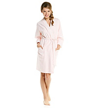 Aria® Short Knit Robe - Coral Stripe