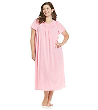 Miss Elaine® Plus Size Long Tricot Gown - Spring Pink