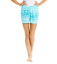 HUE® Tropic Blue Knit Boxer Shorts - Shore Script
