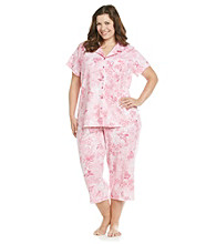 KN Karen Neuburger Plus Size Knit Girlfriend Capri Pajama Set - Rose Novelty