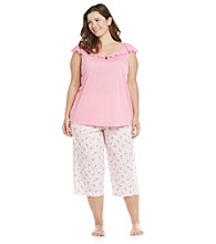 KN Karen Neuburger Plus Size Knit Combo Capri Pajama Set - Rose Scroll