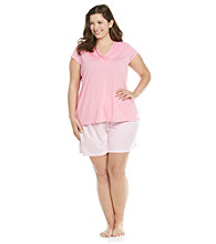 KN Karen Neuburger Plus Size Knit Short Pajama Set - Rose Stripe