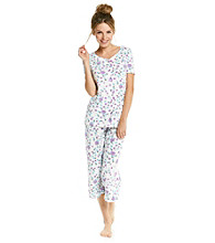 KN Karen Neuburger Knit Cardi/Crop Pajama Set - Purple Floral