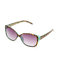 Jessica Simpson Blue Plastic Cat Eye Overlay Sunglasses