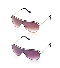 Jessica Simpson Metal Shield Epoxy Colored Brow Bar Sunglasses