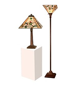 Dale Tiffany Green Leaves Table And Torchiere Lamp Set