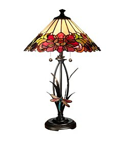 Dale Tiffany Floral Dragonfly 2-Light Table Lamp