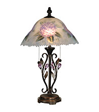 Dale Tiffany Hand Painted Purple Flower Table Lamp