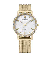 Skagen Denmark Women's Goldtone Striped Mesh with Crystal Bezel