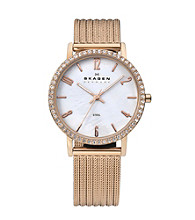 Skagen Denmark Women's Rose Goldtone Striped Mesh with Crystal Bezel