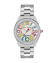 Betsey Johnson® Silvertone Watch with Multi-Colored Numeral Dial