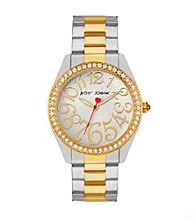 Betsey Johnson® Two Tone Watch with Case Set in Crystal