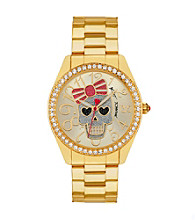 Betsey Johnson® Goldtone Watch with Skull Dial