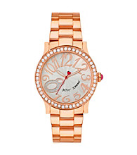 Betsey Johnson® Rose Goldtone Watch with Case Set in Crystal
