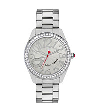 Betsey Johnson® Silvertone Watch with Case Set in Crystal