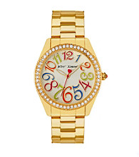 Betsey Johnson® Goldtone Watch with Multi-Colored Numeral Dial