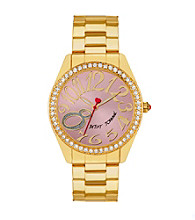 Betsey Johnson® Goldtone Watch with Case Set in Crystal