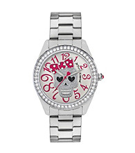 Betsey Johnson® Silvertone Watch with Skull Dial