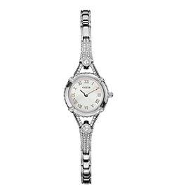 GUESS Silvertone Petite Glamour Embellishment Watch