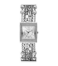 Guess Pearl & Crystal Silvertone Embellished Links Watch