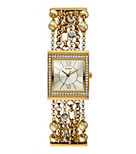 Guess Pearl & Crystal Goldtone Embellished Links Watch