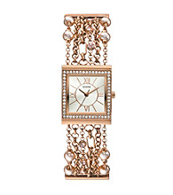 Guess Pearl & Crystal Rose Goldtone Embellished Links Watch