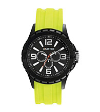Unlisted by Kenneth Cole® Men's Black Watch with Neon Green Silicone Strap
