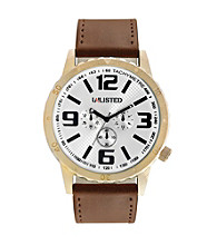 Unlisted by Kenneth Cole® Men's Goldtone Watch with White Dial, Black Accents and Brown Strap