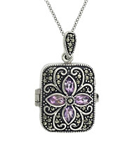 Designs by FMC Genuine Marcasite Rectangle Locket with Amethyst Stones 18