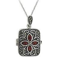 Designs by FMC Genuine Marcasite Rectangle Locket with Garnet Stones 18