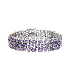 Designs by FMC Amethyst Gemstone Three Row Bracelet - 21 ct. t.w.