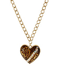 Betsey Johnson® Leopard Heart Pendant Necklace