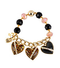 Betsey Johnson® Leopard Heart Charm Half Stretch Bracelet