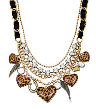 Betsey Johnson® Leopard Heart Frontal Necklace