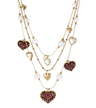 Betsey Johnson® Pink Leopard Heart Illusion Necklace