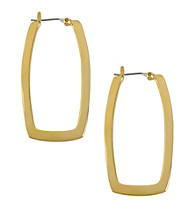 Kenneth Cole® Shiny Goldtone Skinny Rectangle Hoop Earrings