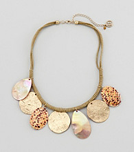 Erica Lyons® Brown Multi Sahara Disks Front Short Necklace