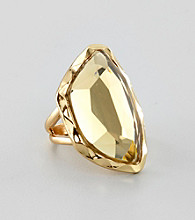 Guess Goldtone Faceted Stone Ring