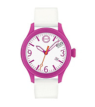 ESQ Movado® One™ White/Fuchsia Silicone Wrapped Stainless Steel Watch