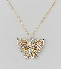Tri-Color Auragento Butterfly Pendant Necklace in Sterling Silver and 14K Gold