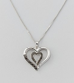 Black Diamond .065 ct. t.w. Open Heart Pendant Necklace in Sterling Silver