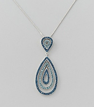 Impressions Blue Teardrop Crystal Pendant Necklace in Sterling Silver