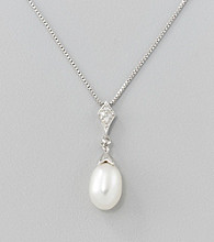 Freshwater Pearl and .07 ct. t.w. Diamond Drop Pendant Necklace in Sterling Silver