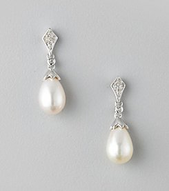 Freshwater Pearl and .07 ct. t.w. Diamond Drop Earrings in Sterling Silver