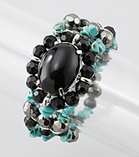 Laura Ashley® Black/Turquoise/Silvertone Three Row Stretch Bracelet