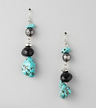 Laura Ashley® Black/Turquoise/Silvertone Linear Drop Earrings